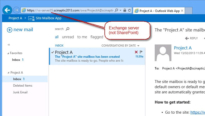 SharePoint Site Mailbox integration with Outlook – A new way