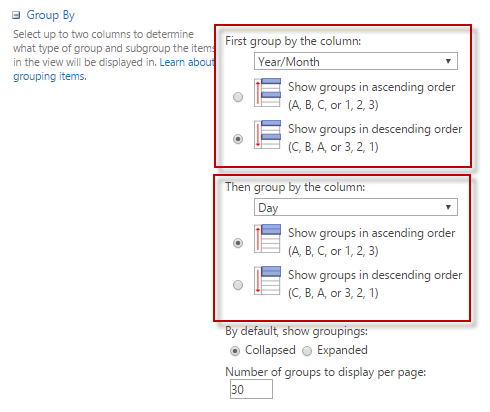 sharepoint-views-date-group-by-cameron-dwyer-09-view-settings-group-year-month-day