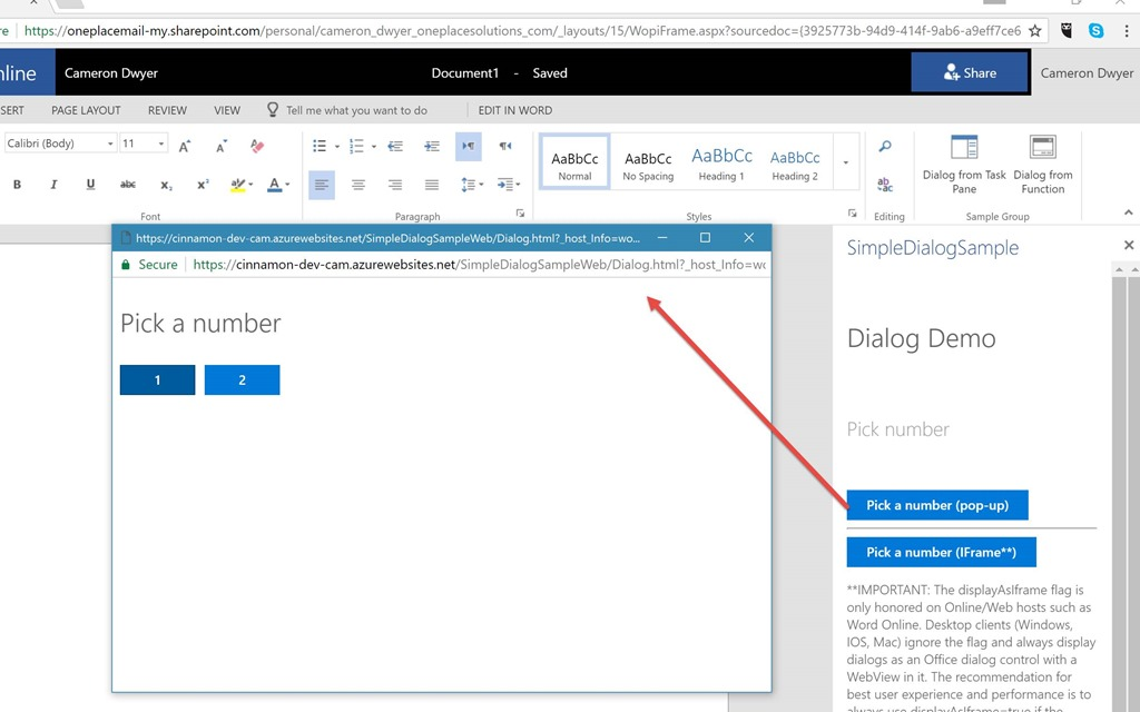 Beware the Office js Dialog API falling silent under IE11 – Cameron