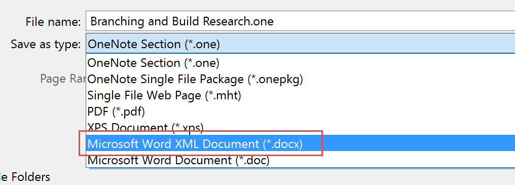 How to export multiple pages from OneNote to a single Word
