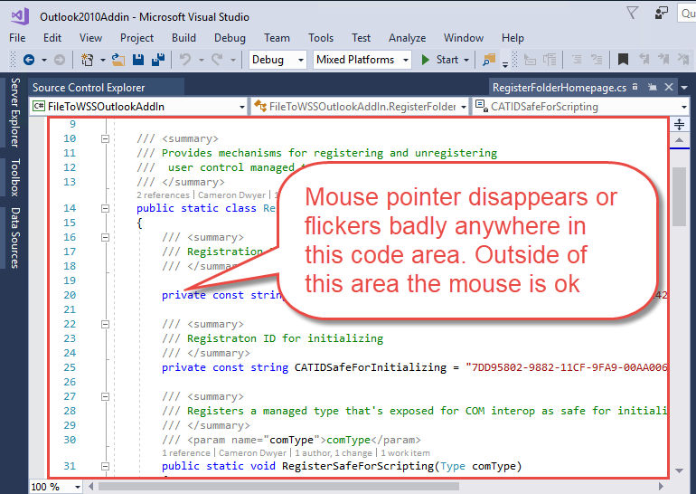 How to fix mouse cursor disappearing in Visual Studio & Visual