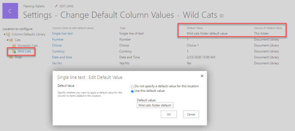 Configuring folder level default column values in SharePoint